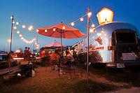 Hungry Austinites and tourist alike find satisfied dinning from the row of food trailers on South Congress
