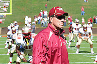 Oct 2, 2010; Charlottesville, VA, USA; Flroida State head coach Jimbo Fisher watches his players stretch before the game against the Virginia Cavaliers at Scott Stadium. Florida State won 34-14.  Mandatory Credit: Andrew Shurtleff-