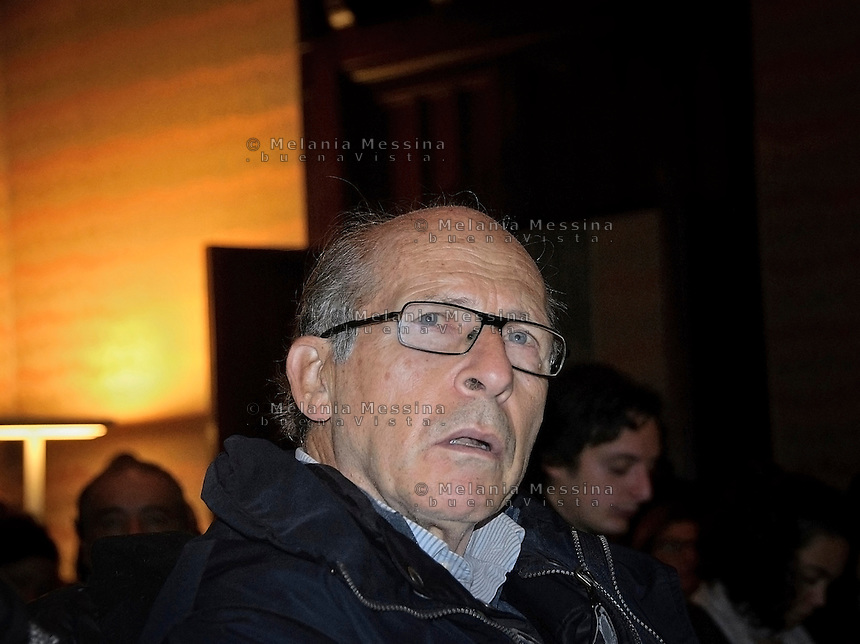 Palermo: Salvatore Borsellino, fratello di Paolo presenzia l'incontro con i candidati della lista Rivoluzione Civile di Antonio Ingroia.<br />