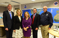 MIAMI, FL - JUNE 01: Bryan Koon, director, State of Florida Emergency Management,  Leslie Chapman-Henderson, CEO, Federal Alliance for Safe Homes (FLASH), Debbie Wasserman Schultz U.S. Representative (FL-23), Rick Knabb, Ph.D., director, NOAA National Hurricane Center and Craig Fugate, administrator, Federal Emergency Management Agency  attend the start of hurricane season news conference at NOAA's National Hurricane Center on June 01, 2015 in Miami Beach, Florida. Credit: MPI10 / MediaPunch