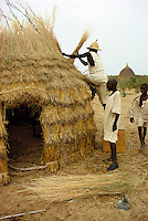 Men making a thatch hut in Kanem, Chad, Africa..