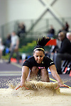 12 MAR 2011: Monique Davisson of Wartburg College triple jumps during the Division III Men's and Women's Indoor Track and Field Championships held at the Capital Center Fieldhouse on the Capital University campus in Columbus, OH.  Jay LaPrete/NCAA Photos