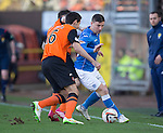 Dundee United v St Johnstone.....21.02.15<br /> Michael O'Halloran is closed down by Ryan McGowan<br /> Picture by Graeme Hart.<br /> Copyright Perthshire Picture Agency<br /> Tel: 01738 623350  Mobile: 07990 594431