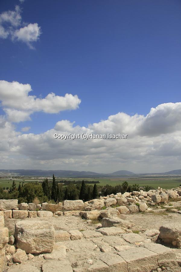 Israel, Jezreel valley. Tel Megiddo overlooking Jezreel valley, a World Heritage Site