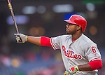 28 April 2016: Philadelphia Phillies first baseman Ryan Howard at bat against the Washington Nationals at Nationals Park in Washington, DC. The Phillies shut out the Nationals 3-0 to sweep their mid-week, 3-game series. Mandatory Credit: Ed Wolfstein Photo *** RAW (NEF) Image File Available ***
