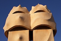 Chimneys (detail), Roof, La Pedrera (Casa Milà), Barcelona, Catalonia, Spain, built by Antoni Gaudí (Reus 1852 ? Barcelona 1926), 1906 - 1910, for  Milà Family, with Joan Beltran as a plaster and with Josep Maria Jujol as architect collaborator. One of the main Gaudi residential buildings. Picture by Manuel Cohen
