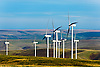 Group of wind turbines on a mosaic of fields