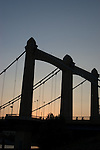 Dusk view of the suspension bridge in downtown Minneapolis