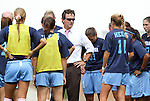 25 September 2011: UNC head coach Anson Dorrance (center) talks to his players before the game. The University of Virginia Cavaliers defeated the University of North Carolina Tar Heels 1-0 in overtime at Fetzer Field in Chapel Hill, North Carolina in an NCAA Division I Women's Soccer game.