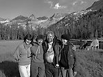 (L-R) Sylvia Mayhew Desin, Ansel&rsquo;s granddaughter, Anne Adams Helms Ansel&rsquo;s daughter, Ken Helms, Virginia Mayhew Ansel&rsquo;s granddaughter.<br /> <br /> In August of 1987, the family and friends of Ansel Adams made a trip to Mount Ansel Adams to honor Ansel by putting his ashes on the mountain.  Leading the trip were Dr. Michael Adams and his wife, Jeanne, their son, Matthew, and daughter, Sarah.  Also in the group were Ansel&rsquo;s daughter, Anne Adams Helms, and her husband, Ken Helms, and Anne's daughters, Virginia (Ginny) Mayhew and Sylvia Mayhew Desin, and Sylvia&rsquo;s husband, Greg Desin.  Other members of the trip were Roger and Mitzi Hall, Matt Weston, Mrs. Desin (Greg&rsquo;s mother), and Billy Butler.  The Adams family invited me along with Leo Stutzin (Modesto Bee reporter) and my eldest son, Aaron Golub.  <br /> <br /> With some of us on horseback and others on foot, we began the hike at Tuolumne High Sierra Camp and headed to Vogelsang High Sierra Camp for the first night out.  The second day, we began by climbing through Vogelsang Pass, then descended by switchback down to Lewis Creek.  After climbing up from the creek we hiked by the Cony Crags before descending into the Lyell Fork of the Merced River ending up near Hutchings Creek at what is now referred to as the Ansel Adams Camp.  <br /> <br /> This camp was originally known generically as a Sierra Club Camp, but has more recently been referred to as Ansel Adams Camp because in 1934, Ansel led a Sierra Club outing to the Lyell Fork of the Merced River.  After the group climbed the then-unnamed peak that Adams called &ldquo;The Tower in Lyell Fork,&quot; they gathered around the campfire and agreed that the peak should bear Ansel&rsquo;s name.  The U.S. Geological Survey does not, however, permit naming features for living individuals, so the peak did not officially become Mt. Ansel Adams until 1985, one year and one day after his death.  Photo by Al Golub/Golub Photography
