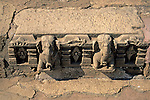Asia, India, Khajuraho. Detail of stone carving at Khajuraho.