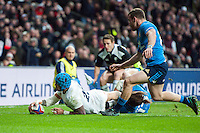Jack Nowell of England scores a try in the second half. RBS Six Nations match between England and Italy on February 26, 2017 at Twickenham Stadium in London, England. Photo by: Patrick Khachfe / Onside Images