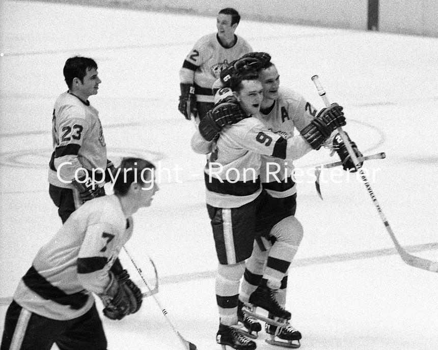 L.A. Kings celebrate win against the Seals, Bill White, Real Lemieux, Eddie Joyal, Mike Byers, and Skip Krake.(1969 photo)