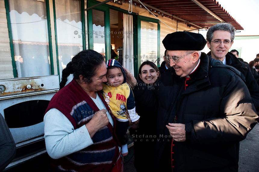 Roma 25 Febbraio 2011.S. Em. il Cardinale Agostino Vallini visita il campo nomadi di via di Salone,  uno dei più grossi insediamenti della Capitale, che  ospita circa 700 persone