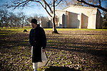 The New Clairvaux Abbot Paul Mark Schwan walks from their unfinished Chapter House at their monastery in Vina, Calif., January 2, 2013. The Chapter House is built from 12th century stones from the Chapter House of Ovila in Spain. Originally purchased by William Randolph Hearst, they were left abandoned in Golden Gate Park for over 60 years.