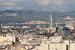 Torre Agbar view from montjuic park of Barcelona by Christopher Holt