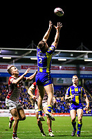 Picture by Alex Whitehead/SWpix.com - 09/03/2017 - Rugby League - Betfred Super League - Warrington Wolves v Wigan Warriors - Halliwell Jones Stadium, Warrington, England - Warrington's Tom Lineham catches the ball in the air.