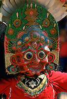 Woman dancer in painted mask,Bhaktapur, Nepal