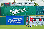 22 February 2013: Members of the Washington Nationals stand in the outfield as the temperature reaches 80 degrees Farenheit during a full squad Spring Training workout at Space Coast Stadium in Viera, Florida. Mandatory Credit: Ed Wolfstein Photo *** RAW File Available ***