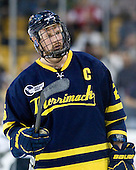 Adam Ross (Merrimack - 26) - The Merrimack College Warriors defeated the University of New Hampshire Wildcats 4-1 in their Hockey East Semi-Final on Friday, March 18, 2011, at TD Garden in Boston, Massachusetts.