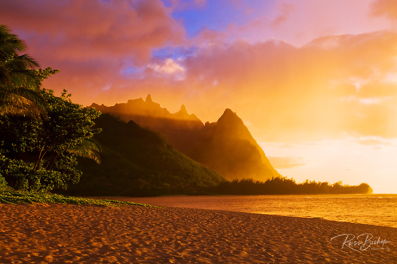 Evening light on Na Pali Coast spires from Tunnels Beach, Island of Kauai, Hawaii USA
