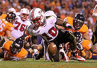 Nov 13, 2010; Charlottesville, VA, USA;  Maryland Terrapins running back D.J. Adams (10) releases the ball after scoring a touchdown during the 2nd half of the game against the Virginia Cavaliers at Scott Stadium. Maryland won 42-23. Mandatory Credit: Andrew Shurtleff