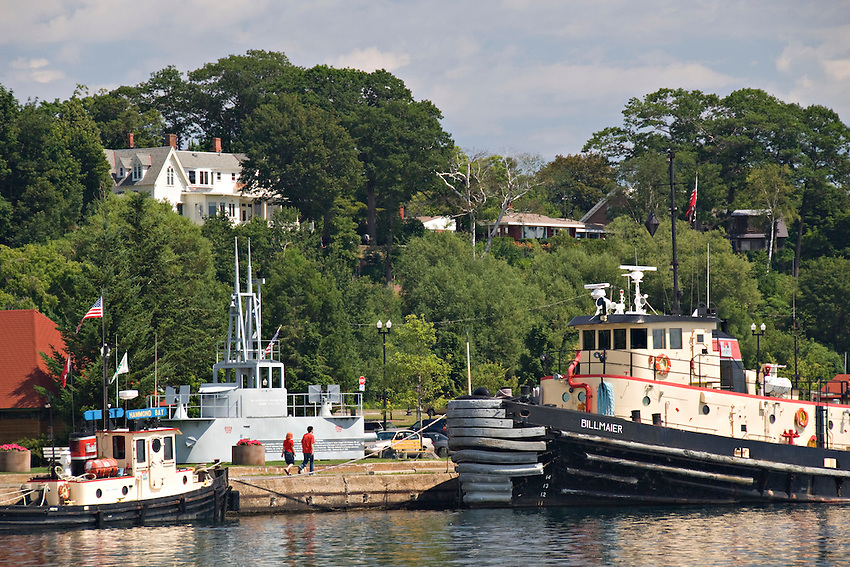 Tug boats in the lower harbor of Marquette Michigan on Lake Superior.