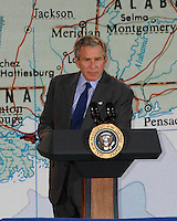 President Bush speaks at St.Stanislaus College in Bay St. Louis, Mississippi on Thursday Jan 12,2006. Bush discussed his plans for Gulf Coast Recovery and financianl help for the Mississippii Gulf coast.