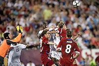 USA's Edson Buddle prepares to head the ball as the Czech Republic's Petr Cech defends during an international friendly tune up match for the 2012 World Cup, in Hartford, CT, 05/25/10. The Czech Republic defeated the USA 4-2.