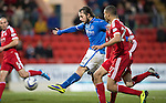 St Johnstone v Aberdeen.....07.12.13    SPFL<br /> Stevie May's shot is well saved by Jamie Langfield<br /> Picture by Graeme Hart.<br /> Copyright Perthshire Picture Agency<br /> Tel: 01738 623350  Mobile: 07990 594431