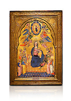 Gothic altarpiece of Madonna Of Humility With The Eternal Father In Glory, by Cenni di Francesco di Ser Cenni of Florence, circa 1375-80, tempera and gold leaf on wood. The Madonna and Child are depicted with the 12 apostles. National Museum of Catalan Art, Barcelona, Spain, inv no: MNAC  212805. Against a white background.