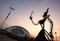 Sunset on The Palau de les Arts (The Arts Palace) ; Public Sculpture; last element of the City of Arts and Sciences, 2004, Santiago Calatrava, Valencia, Communitat Valenciana, Spain Picture by Manuel Cohen