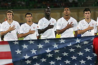 The United States' Jared Jefferey (8), Dilly Duka (10), Ike Opara (16), Bryan Arguez (17), Jorge Flores (19) salute for the US National Anthem on the field before the match against South Korea during the FIFA Under 20 World Cup Group C match between the United States and South Korea at the Mubarak Stadium on October 02, 2009 in Suez, Egypt.