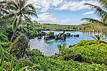 The lagoon at Waianapanapa State Park, located off the Hana Highway just north of the town of Hana, Maui.