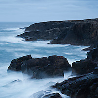 Rough seas break on rugged coast at Butt of Lewis, isle of Lewis, Outer Hebrides, Scotland