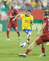Brazil midfielder Bernard (20).  In an International friendly match Brazil defeated Portugal, 3-1, at Gillette Stadium on Sep 10, 2013.