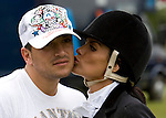 JAMES BOARDMAN / 07967642437. Jordan gives husband Peter Andre a kiss after competing in her debut unaffiliated dressage test at Hickstead Show Ground in West Sussex June 11, 2008.