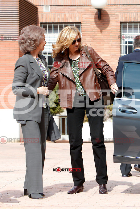 Queen Sofia of Spain and Cristina of Spain visit King Juan Carlos of Spain at La Milagrosa Hospital in Madrid, Spain. March 03, 2013. (ALTERPHOTOS/Caro Marin) /NortePhoto
