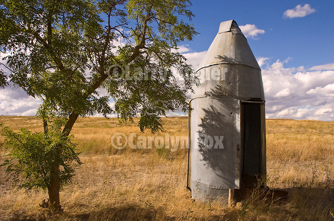 Torpedo-shape metal outhouse in grove of locust trees, rural Washington.