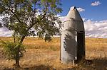 Torpedo-shape metal outhouse in grove of locust trees, rural Washington.