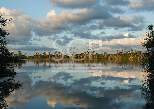 Xingu Indigenous Park, Mato Grosso State, Brazil. Aldeia Kuikuro - central village; Ipatse lake - The Lake of the Needle Fish.
