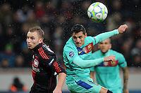 FUSSBALL   CHAMPIONS LEAGUE   SAISON 2011/2012   ACHTELFINALE  Bayer 04 Leverkusen - FC Barcelona              14.02.2012 Michal Kadlec (li, Bayer 04 Leverkusen) gegen Alexis Sanchez (re, Barca)
