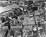 Pittsburgh PA: View of the buildings and parking lots near the Point - 1948.  Most of the buildings and lots were demolished to create Gateway Center and the new 1960s skyline.
