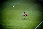 Dan carter kicking for the crusaders when they played a super rugby match against the sharks at Twickenham, England in 2011.