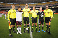 DC United Dax McCarty with Colorado Rapids Pablo Mastroeni and referees at the coin toss.   DC United tied The Colorado Rapids 1-1, at RFK Stadium, Saturday  May 14, 2011.