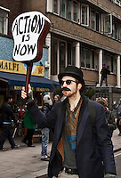 Protester - 2011<br /> <br /> London, 29/01/2011. National demonstration organised by NCAFC (National Campaign Against Fees and Cuts) started their march from ULU (University of London Union) on Malet Street and continued via the Strand, Whitehall, Parliament Square, Millbank Center, and the Egyptian embassy. Thousands of students and trade union members protested against budget cuts in the public sector and increased education tuition fees being pushed through by the Con/Dem Government.