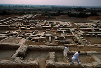 Mohenjo Daro site...  4,800 years ago, at the same time as the early civilizations of Mesopotamia and Egypt, great cities arose along the flood plains of the Indus and Saraswati (Ghaggar-Hakra) rivers.  Developments at Harappa have pushed the dates back 200 years for this civilization, proving once and for all, that this civilization was not just an offshoot of Mesopotamia..They were a highly organized and very successful civilization.  They built some of the world's first planned cities, created one of the world's first written languages and thrived in an area twice as large as Egypt or Mesopotamia for 900 years (1500 settlements spread over 280,000 square miles on the subcontinent)..There are three major communities--Harappa, Mohenjo Daro, and Dholavira. The town of Harappa flourished during this period because of it's location at the convergence of several trade routes that spanned a 1040 KM swath from the northern mountains to the coast.