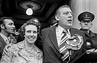 Rev Ian Paisley, with wife, Eileen Paisley, after his North Antrim victory in the UK General Election, 28th February 1974. 197402287235<br />