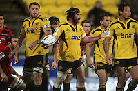 Hurricanes captain Andrew Hore asks why he wasn't awarded a try. Super 15 rugby match - Crusaders v Hurricanes at Westpac Stadium, Wellington, New Zealand on Saturday, 18 June 2011. Photo: Dave Lintott / lintottphoto.co.nz