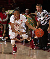 STANFORD, CA - JANUARY 16, 2015--<br /> Stanford&rsquo;s Alex Green, drives the ball down court during the Arizona game at Maple Pavilion.